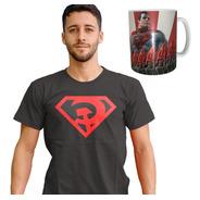 Combo Remera + Taza De Superman Red Son El Hijo Rojo Oferta