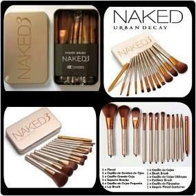 Set De 12 Brochas Y Pinceles Naked 3 Maquillajes