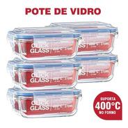 Kit Com 5 Potes De Vidro Click Glass Premium 100% Herméticos