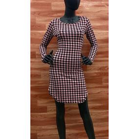Vestido U Manga Larga Rosa/negro- Maat Clothing