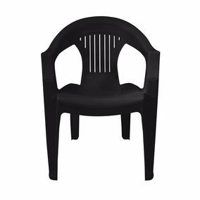 Silla Plástico Apilable Confort Para Adultos Negra - Sp0100