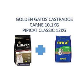 Golden Gatos Castrados Carne 10,1kg + 1 Pipicat Classic 12kg