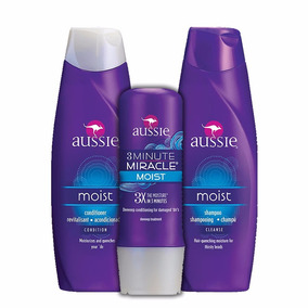 Kit Aussie Shampoo + Condicionador + 3 Minute Miracle Moist