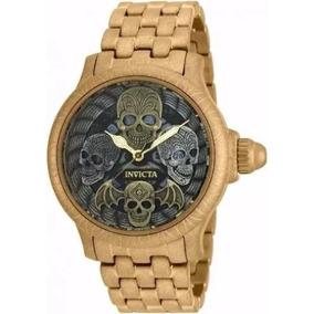 Relógio Invicta Artist 19858 Skull Caveira Banhado Ouro N29