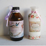 Botella Frasco Farmacia Vintage Decorado Shabby Decoupage