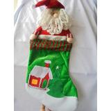 Bota De Navidad Grande San Nicolas Santa Tipo Peluche 63cm