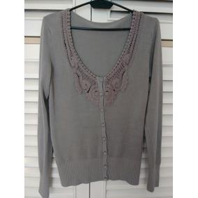 Cardigan Chaleco Sweater Abotonado Mujer Gris Perla Bordado