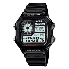 59d1a65179 Relogio Casio Ae-1200 Wh 1a Horario Mundial 5 Alarmes Wr100m