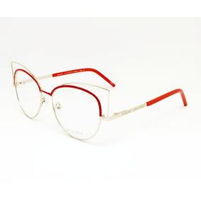Armação Óculos P/ Grau Feminino Gatinho Metálico Marc12