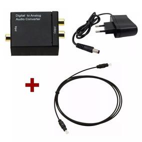 Conversor De Áudio Digital P/ Rca Analógico + Cabo Óptico 3m