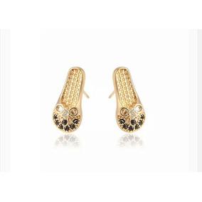 Aretes De Zapato Oro Laminado 18k Con Zirconias