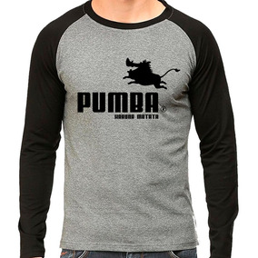 Camiseta Rei Leão Pumba Hakuna Matata Puma Raglan Mescla