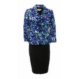 Conjunto Le Suit Azul Floral Talla M Falda + Chaqueta