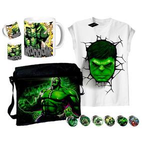Set De Morral + Remera + Taza + 10 Pins Hulk