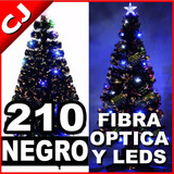 Arbol Negro 210 Fibra Optica Y Luces Led Integradas Navidad