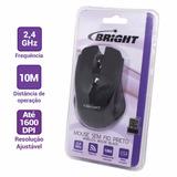 Mouse Sem Fio Nano Recep 2,4 Ghz Preto Bright