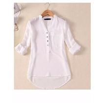 Camisa Branca No Tecido Chiffon