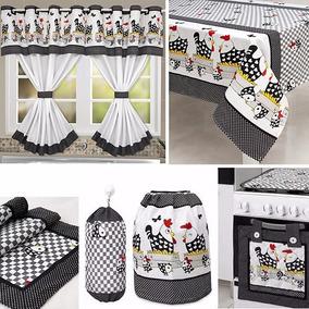 Kit Cozinha 9 Pçs - Galinha (toalha 6 Lug. Kit P/ Fogão 4b.)