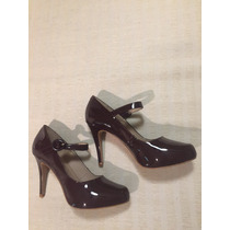 Zapato Gacel De Cuero Charol Y Terraplen, N* 37. Burdeo.