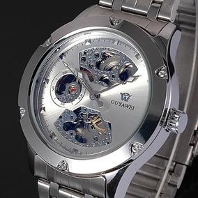 Reloj Automatico Skeleton Color Plata De Lujo Ouyawei