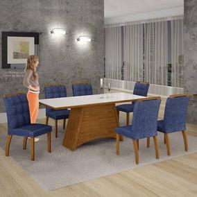 Mesa De Jantar Malaga Vidro Branco C/6 Cadeiras Suede Azul/i