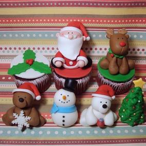 Cupcakes Navidad Decorados + Adorno En Porcelana Souvenirs !