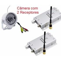 Mini Câmera Noturna Infra S/ Fio Com Áudio 2 Receptores