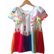 Vestido Infantil Colorido Aquarela Tucano Gatinho Criança