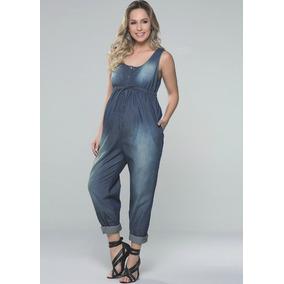 Macacão Longo Jeans Gestante Grávida Amamentação Abertura