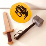 Kit Espada Escudo Mazo Thor Juguete Medieval Caballero