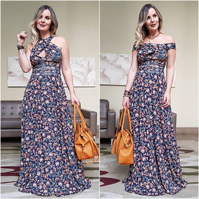Roupas Femininas Vestido Longo Estampado Florido Casual 2710