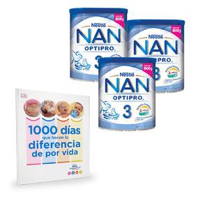 3 Latas Leche Nan 3 Optipro 800g (lata) + Un Libro