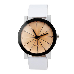 Relógio Feminino Branco Quartzo Estilo Show Pulseira Couro