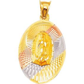Medalla Virgen Guadalupe Oval Y Cadena De Oro 10k