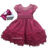 Vestido Festa Infantil Festa Luxo Princesa Pink Com Tiara