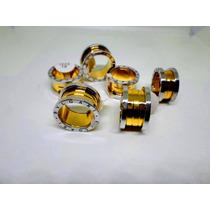 Anel Aliança Bvlgari Titânio Gold & Silver 12 M M - Unidade