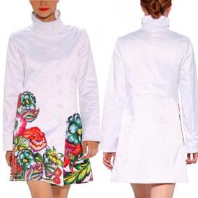 Gabardina Desigual Blanco Flores Talla S M L