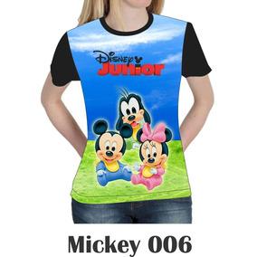 Camiseta Blusa Mickey Minie Disney Feminina Baby Look 006