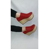Calzado Plataforma Yute Botin Rojo Zapatos Moda Envío Gratis
