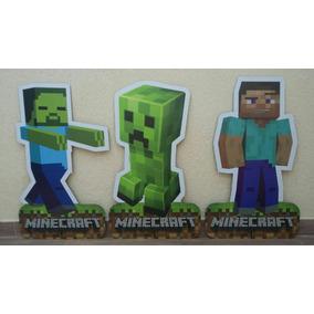Kit 9 Minecraft 3 Totem Chão 80cm E 6 Displays Mesa 22cm