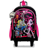 Kit Mochilete Sestini M Preto E Rosa Monster High +lancheira