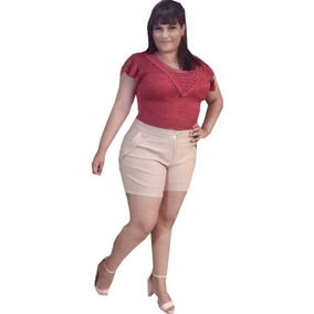 2 Body Plus Size Manga Curta Renda Com Perola 46 Ao 50