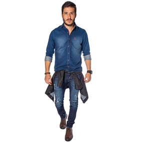 Camisa Masculina Jeans Manga Longa Da Revanche Original 100% 8090031584f3a