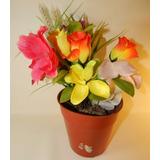 Maceta De Plástico Y Planta Con Flores De Tela 30cm De Alto
