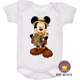 Body Mickey Safári Infantil Personalizado Bebê Baby Kids