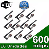 Kit 10 Adaptador Wireless Usb Wifi 600mbps Sem Fio Lan B/g/n