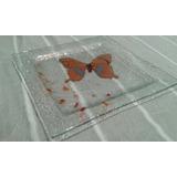 Juego De 6 Platos Cuadrados Mariposa Vitrofusión 26cm