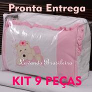 Kit Enxoval Berço 9 Peças Branco Rosa Bordado Aplique Ursa