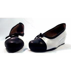 Sam123 Zapatos Taco Chino De Cuero Talles Grandes Blanco