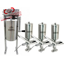 Kit Churros 1 Masseira Engrenagem, 3 Doceira Aço Inox Ademaq